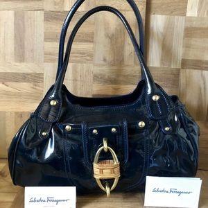 SALVATORE FERRAGAMO midnight blue beautiful purse